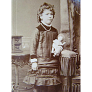 Antique Cabinet CDV PHOTOGRAPH, Young Girl Holding Tiny China Doll
