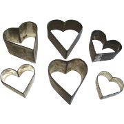 6 Antique Primitive Soldered Tin OPEN HEART COOKIE CUTTERS