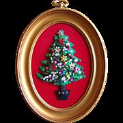 Adorable Vintage 1960s Framed Felt CHRISTMAS TREE, Applied Sequins & Beads