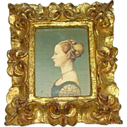 Lovely Old Florentine Ornate Gilded Wood Frame, Silhouette Woman, ITALY