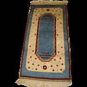 Vintage Mid-Century SWEDISH Hand Made RYA RUG or WALL HANGING, Blue, Cream & Red