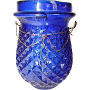 Antique Fairy Christmas Tree Glass CANDLE HOLDER, FLOAT LAMP, Cobalt Blue