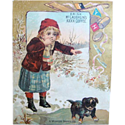 Antique Lithograph McLAUGHLINS COFFEE TRADE CARD, Winter, Puppy Stuck on Ice