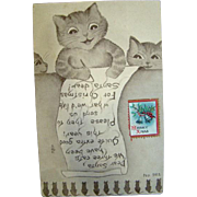 Adorable 1900s LOUIS WAIN Cats Christmas POSTCARD, F.A. OWEN CO.