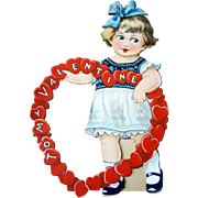 Adorable Vintage Die Cut VALENTINE'S DAY Card, Heart Ring, Stand