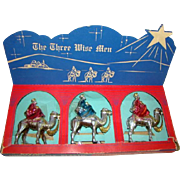 1950s CHRISTMAS Nativity, 3 Wise Men Camels, Hard Plastic, BRADFORD, Orig. Box