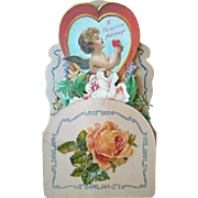 Antique Victorian Diecut Honeycomb VALENTINE'S DAY Card, Roses & Winged Cherub