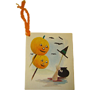 Vintage Unused HALLOWEEN Bats & Jack O'Lantern Bridge TALLY CARD