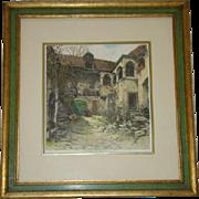 Vintage Framed Etching WACHAUERHOF, Austria, Pencil Signed ROBERT KASIMIR