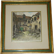 Vintage Framed Etching WACHAUERHOF, Austria, Pencil Signed ROBERT KASIMIR