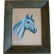 Wonderful Vintage Framed Original CHALK Drawing, Arabian HORSEHEAD, Signed WR
