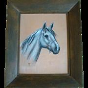Wonderful Vintage Framed Original CHALK Drawing, Arabian HORSEHEAD, Signed WR