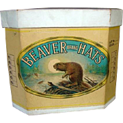Wonderful Large Old Empty BEAVER BRAND Cardboard Hat Box, Great Graphics
