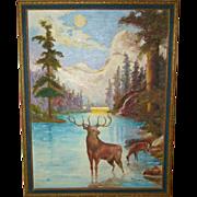 Wonderful Primitive FOLK ART Antique Framed OIL PAINTING Stag & Doe in Moonlight