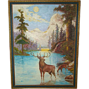 Wonderful Primitive FOLK ART Antique Framed OIL PAINTING Stag & Doe in Moonlight