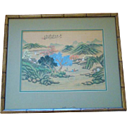 Vintage Bamboo Framed HAND PAINTED On Silk Chinese Pastoral Painting, Signed