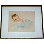 "1940s CHARLOTTE BECKER Smiling Baby 20"" Print, Take Me in Your Arms, Framed"
