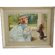Vintage VICTORIAN Style Lithograph Print, Little Girl Scolding Kitty Cat