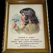 Vintage HATTER & GENTS' FURNISHER Framed Advertisement, George Sabey