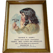 Vintage HATTER & GENTS' FURNISHER Framed Advertisement, George Sabey