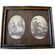 2 Antique Framed CDV CABINET CARD Photographs, Young Children, Oakland, California