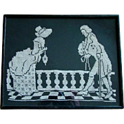 1940s REVERSE SILHOUETTE Cross Stitch Needlepoint, Framed, Colonial Couple