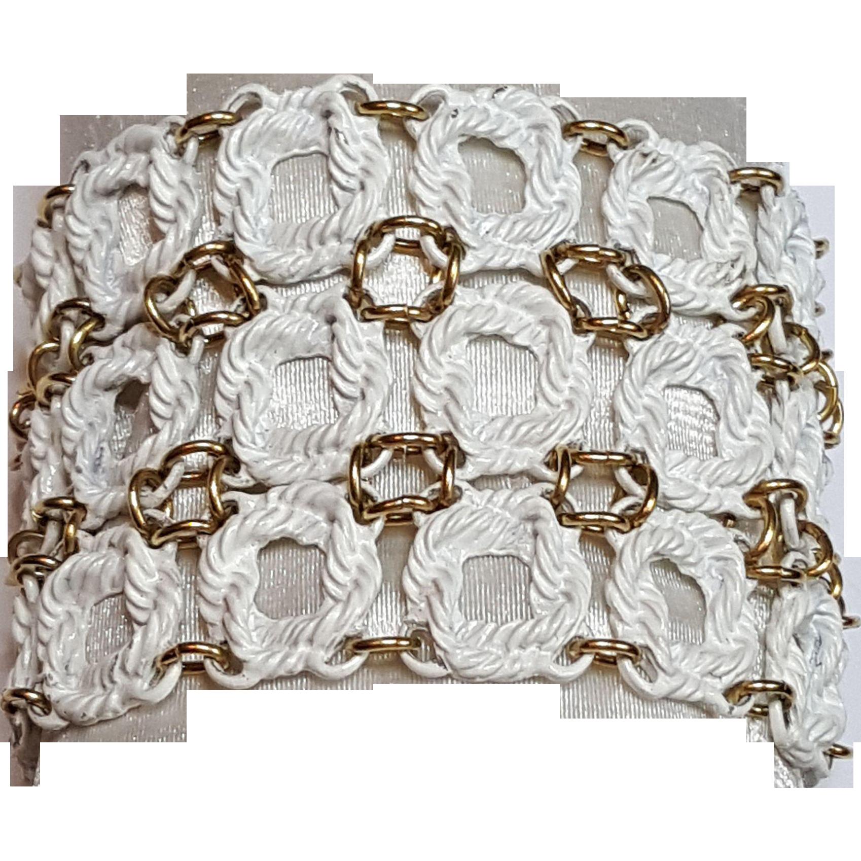 Monet White Enamel Rope Bracelet