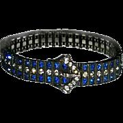 Sterling Diamonbar Sapphire Blue & Clear Buckle Bracelet