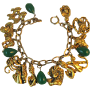Vintage Tortolani Zodiac Figural Charm Bracelet