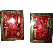 Red Enamel King of Spades Cuff Links - 60s
