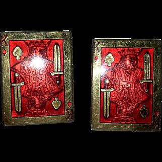 Red Enamel King of Spades Cuff Links - 60s