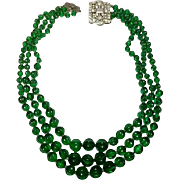 Vintage Kenneth Lane Green Ribbed Glass Necklace