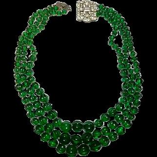 Vintage Kenneth Lane Green Ribbed Glass Necklace
