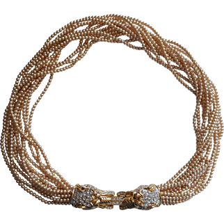 Kenneth Jay Lane Faux Pearl Lion Head Necklace