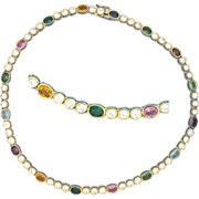 Panetta Rhinestone Necklace Multi Colored Stones