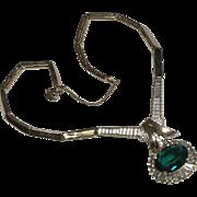 Panetta Green Rhinestone Drop Necklace
