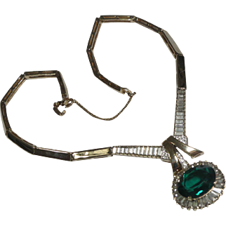 Panetta Green Rhinestone Drop Necklace