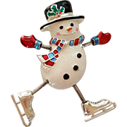 Danecraft Ice Skating Snowman Pin