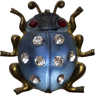 Frosted Blue Lucite Ladybug Pin - Germany