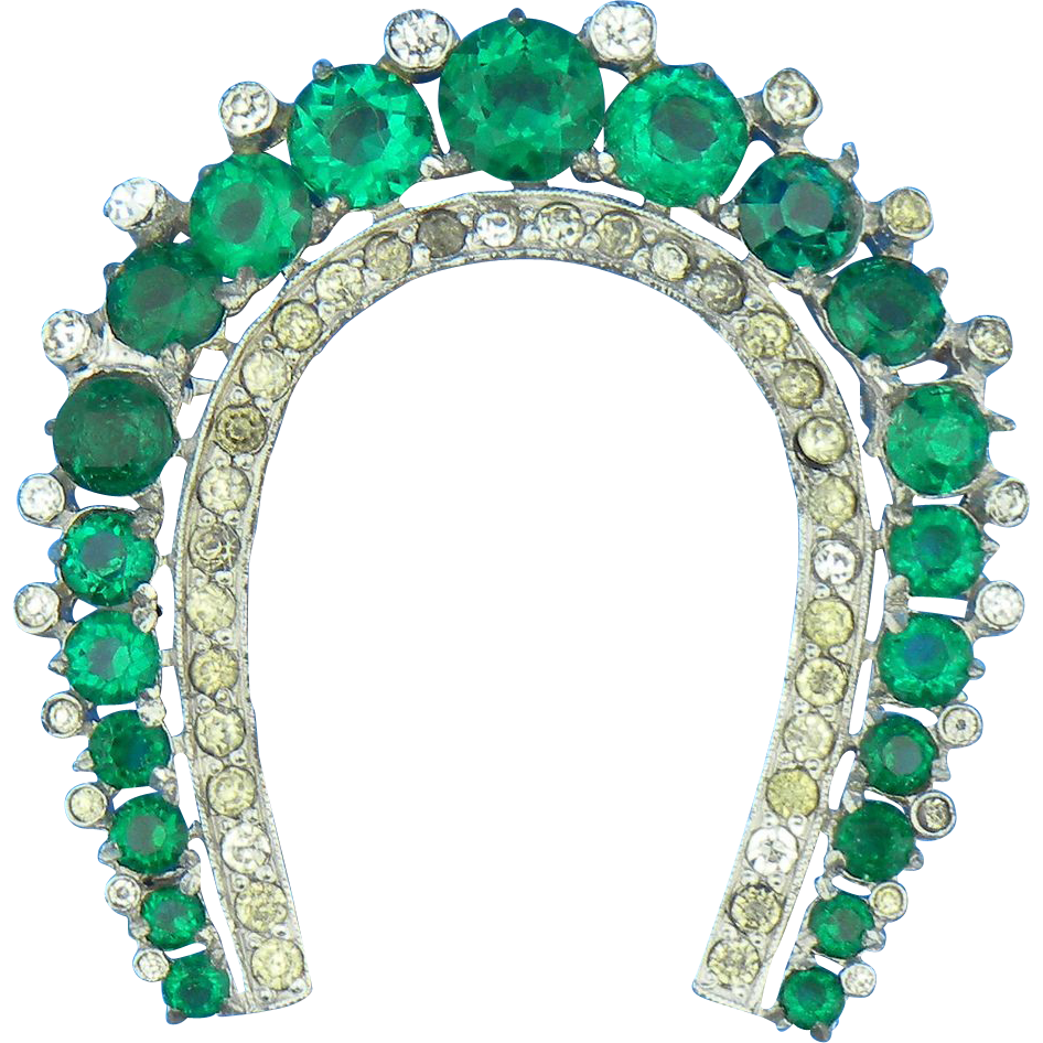 Emerald Green Rhinestone Horseshoe Pin