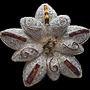 Napier Rhinestone Flower Pin