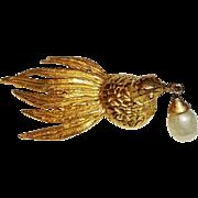Cadora Pin Dove Holding Faux Pearl Drop
