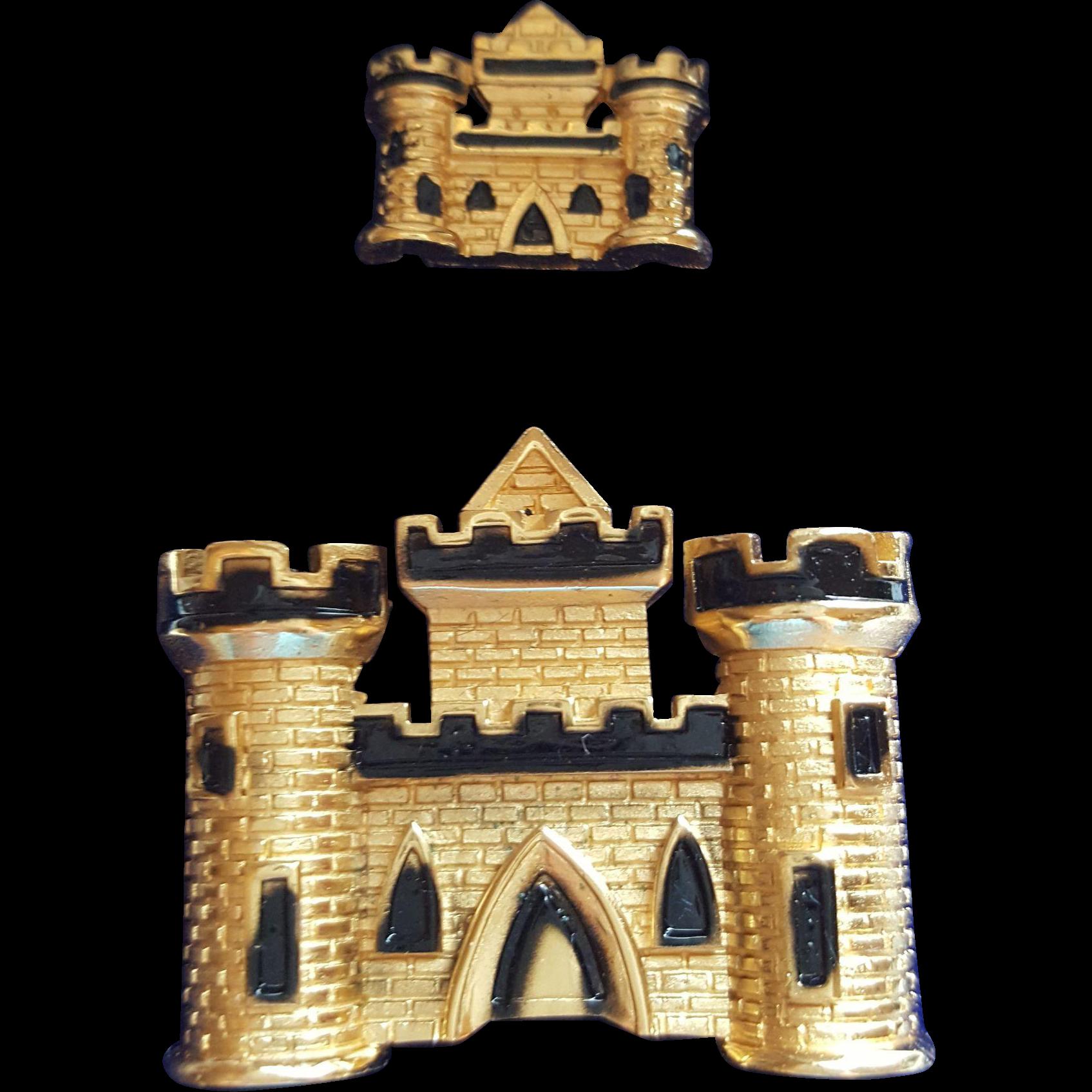 Trifari Castle Pins in Original Box