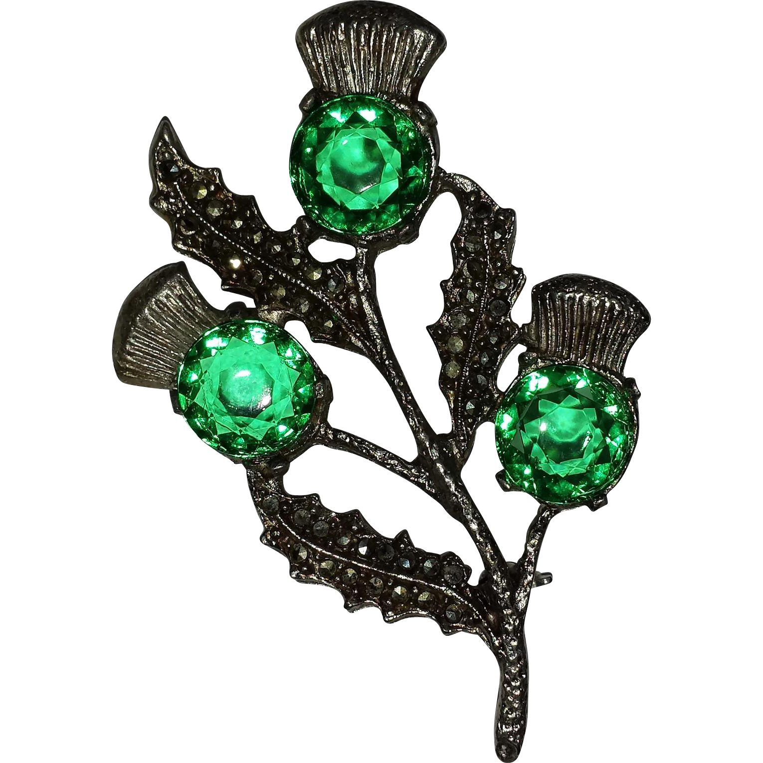 Miracle Green Rhinestone & Marcasite Thistle Pin