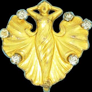 Art Nouveau Nymph Lady Watch Pin