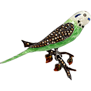 Art Deco Parakeet Budgie Sterling & Marcasite Pin
