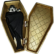 Spooktacular Dracula in a Coffin Figural Pin
