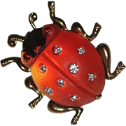 Frosted Lucite & Rhinestone Ladybug Pin - Germany