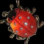Frosted Lucite & Rhinestone Ladybug Pin - Germany