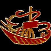 Trifari Asian Red Enamel Boat